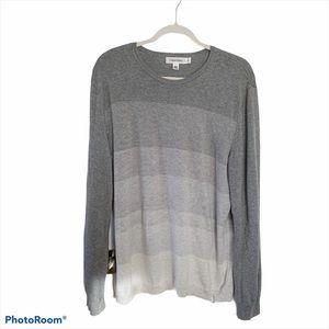 L CALVIN KLEIN gray ombre crew neck sweater